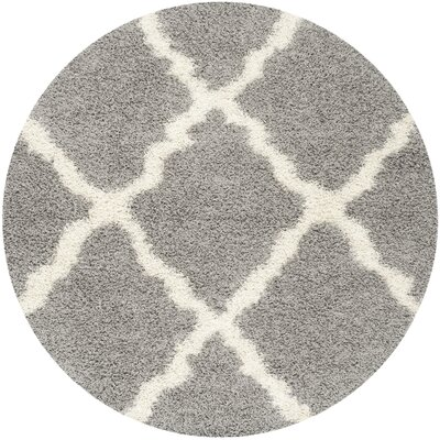Charmain Gray & Ivory Area Rug Rug Size: Round 8