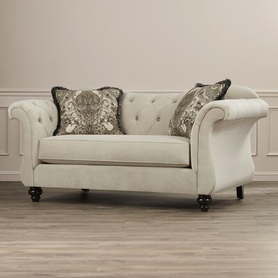 Indira Premium Tufted Upholstered Loveseat Upholstery: Taupe