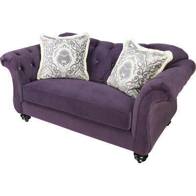 Indira Premium Tufted Upholstered Loveseat Upholstery: Purple