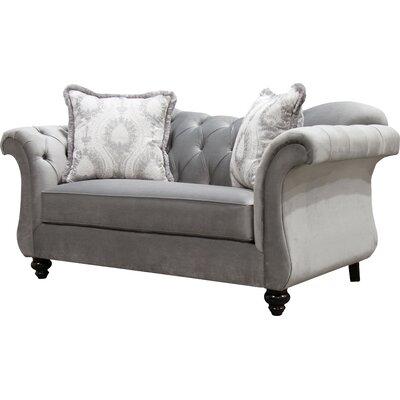 Indira Premium Tufted Upholstered Loveseat Upholstery: Gray