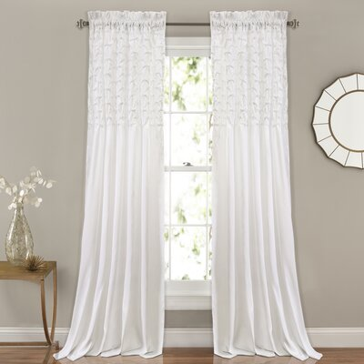 Raya Solid Rod Pocket Curtain Panels Color: White