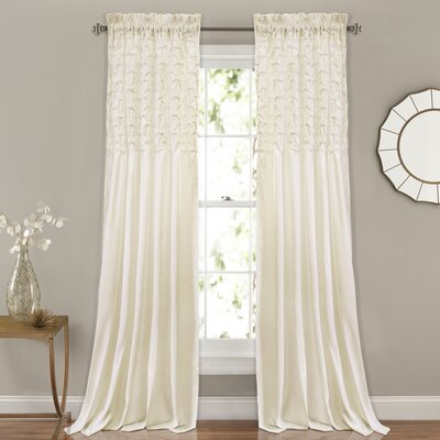 Raya Solid Rod Pocket Curtain Panels Color: Ivory