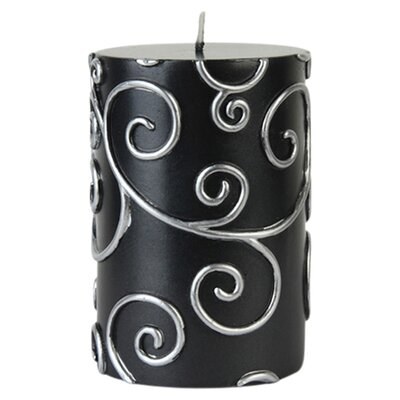 Scroll Pillar Candle Color: Black, Size: 4