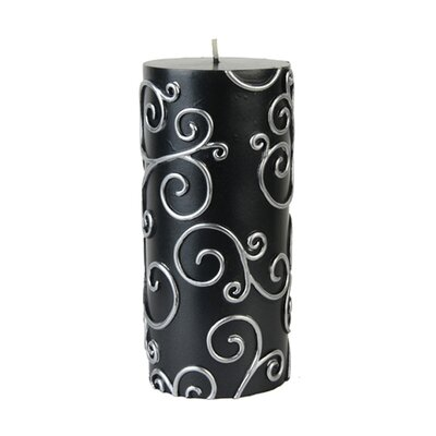 Scroll Pillar Candle Color: Black, Size: 6