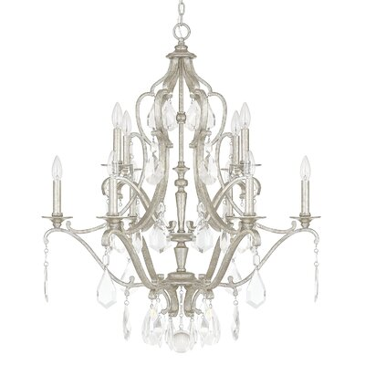 Destrey 10-Light Candle-Style Chandelier Finish: Antique Silver