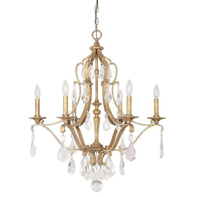 Destrey 6-Light Candle-Style Chandelier Finish: Antique Gold