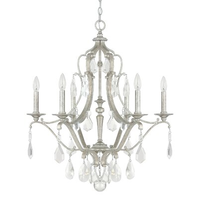 Destrey 6-Light Candle-Style Chandelier Finish: Antique Silver