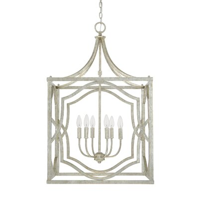 Destrey Traditional 6-Light Metal Foyer Pendant Finish: Antique Silver