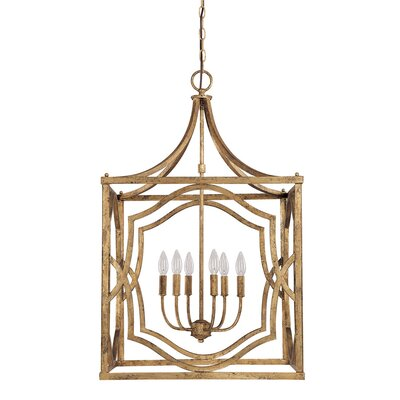 Destrey Traditional 6-Light Metal Foyer Pendant Finish: Antique Gold