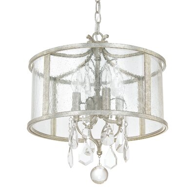 Destrey 4-Light Crystal Drum Pendant Finish: Antique Silver