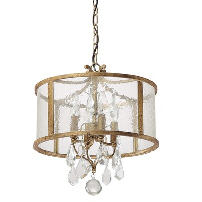 Destrey 4-Light Crystal Drum Pendant Finish: Antique Gold
