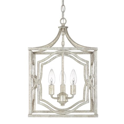 Destrey Traditional 3-Light Metal Foyer Pendant Finish: Antique Silver