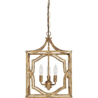 Rachelle 3-Light Foyer Pendant Finish: Antique Gold