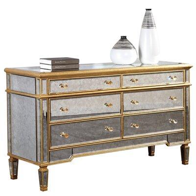 Rabia 6 Drawer Dresser Finish: Gold & Antique Mirror