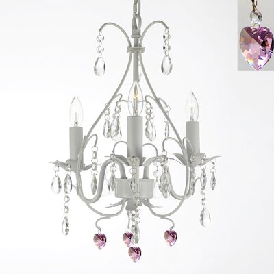 Evon 3-Light Hearts Crystal Chandelier