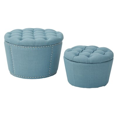Evangelina 2 Piece Tufted Storage Ottoman Set Upholstery: Milford Capri