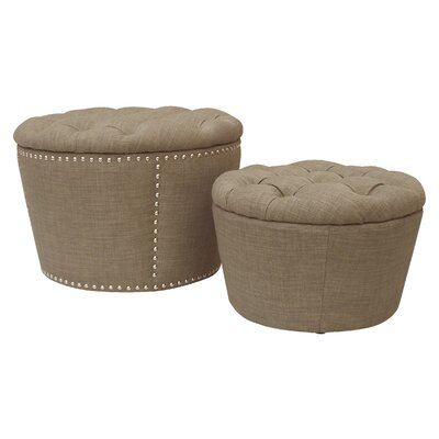 Evangelina 2 Piece Tufted Storage Ottoman Set Upholstery: Milford Dolphin