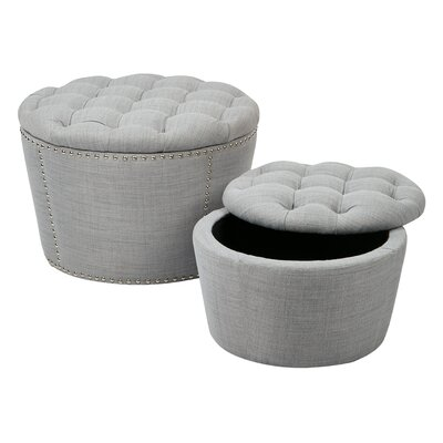 Evangelina 2 Piece Tufted Storage Ottoman Set Upholstery: Milford Dove