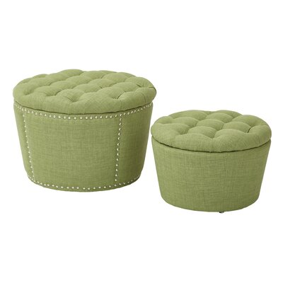 Selena 2 Piece Tufted Storage Ottoman Set Upholstery: Milford Grass