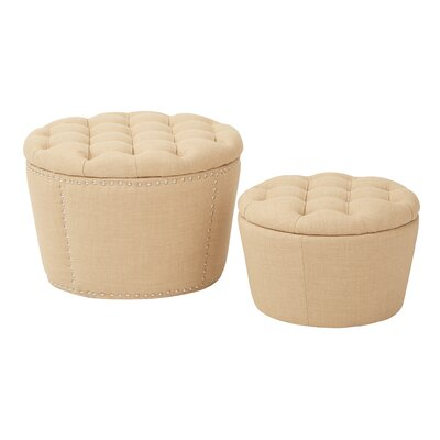 Evangelina 2 Piece Tufted Storage Ottoman Set Upholstery: Milford Maize