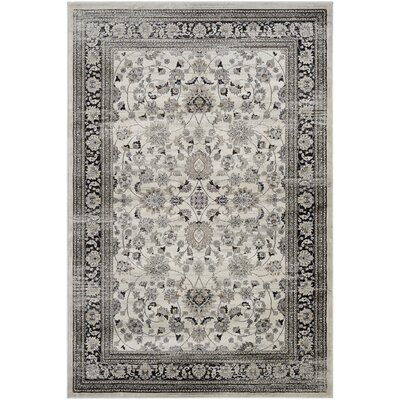 Kira Floral Cream/Black Area Rug Rug Size: Rectangle 53 x 76