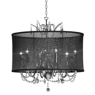 Edmond 5-Light Drum Chandelier Shade color: Black
