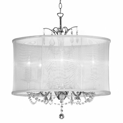 Samual 5-Light Drum Chandelier Shade color: White