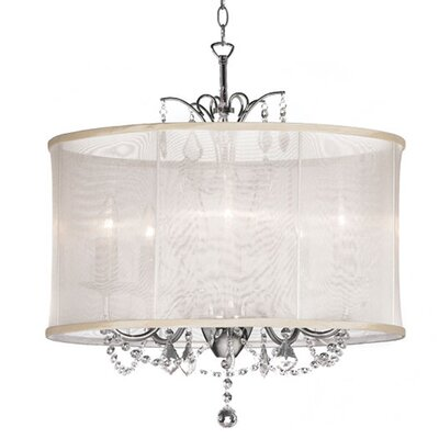 Edmond 5-Light Drum Chandelier Shade color: Oyster
