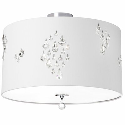 Stacie 3-Light Semi Flush Mount Shade Color: White