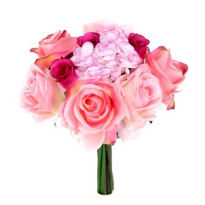 12 Stems Artificial Rose Bouquet Flower Color: PIink/Velvet
