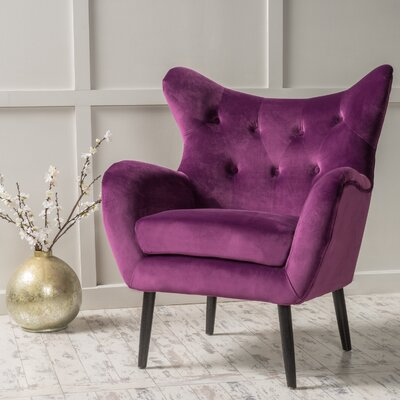 Saphira Wingback Chair Color: Purple