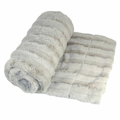 Eisley Double Sided Faux Fur Throw Blanket Color: Light Gray