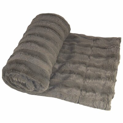 Eisley Double Sided Faux Fur Throw Blanket Color: Charcoal
