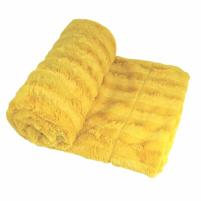 Eisley Double Sided Faux Fur Throw Blanket Color: Lemon