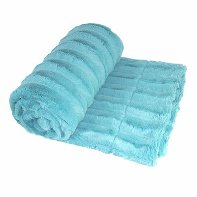 Eisley Double Sided Faux Fur Throw Blanket Color: Sky Blue