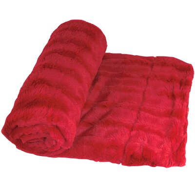 Eisley Double Sided Faux Fur Throw Blanket Color: Chili Pepper