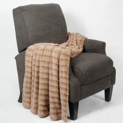 Taliyah Double Sided Faux Fur Throw Blanket Color: Taupe