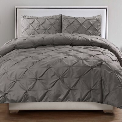 Tamra 3 Piece Comforter Set Color: Gray, Size: King