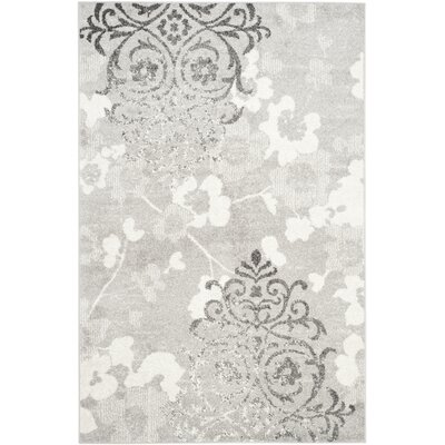 Frizzell Silver/Ivory Area Rug Rug Size: Rectangle 3 x 5