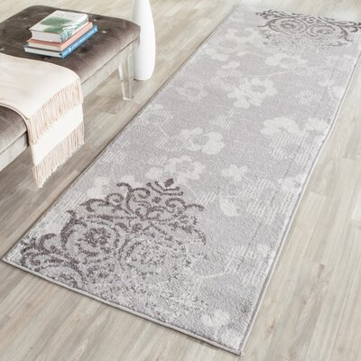 Frizzell Silver/Ivory Area Rug Rug Size: Runner 26 x 20