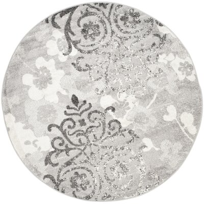 Frizzell Silver/Ivory Area Rug Rug Size: Round 8