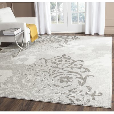Frizzell Silver/Ivory Area Rug Rug Size: Rectangle 9 x 12
