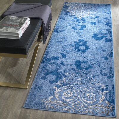 Frizzell Light Blue&Dark Blue Area Rug Rug Size: Runner 26 x 8