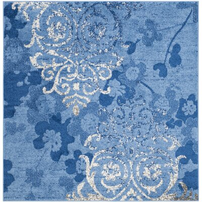 Norah Light Blue&Dark Blue Area Rug Rug Size: Square 4