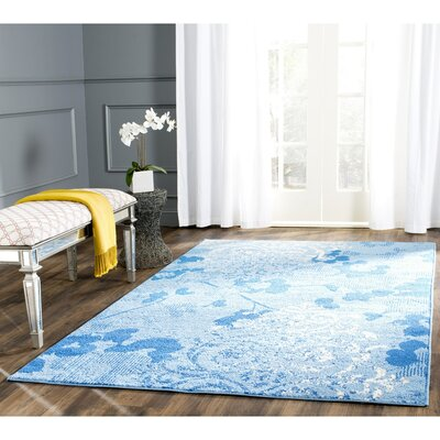 Norah Light Blue&Dark Blue Area Rug Rug Size: Round 4'