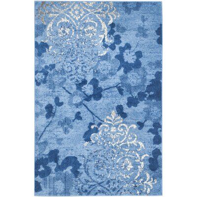 Frizzell Light Blue&Dark Blue Area Rug Rug Size: Round 8