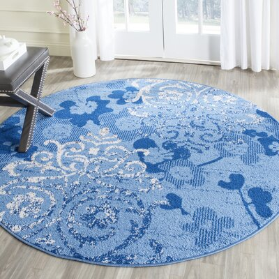 Frizzell Light Blue&Dark Blue Area Rug Rug Size: Round 6