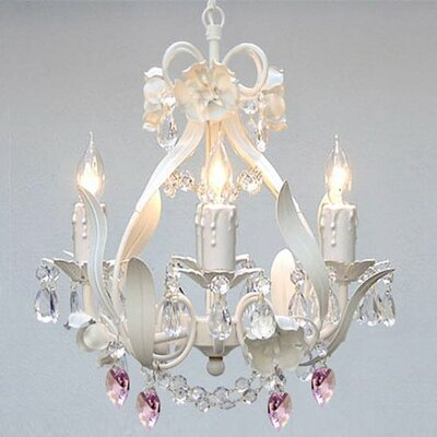 Tobias 4-Light Crystal Hearts Chandelier