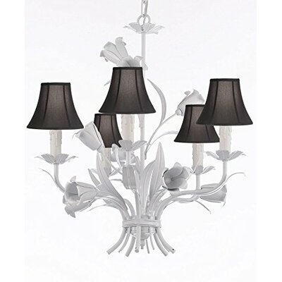 Tobias 5-Light Shaded Wrought Iron Chandelier