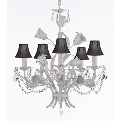 Tobias 5-Light Shaded Floral Iron Chandelier with Chain